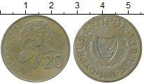 Изображение Дешевые монеты Кипр 20 центов 2001 Медь XF-