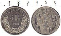 Изображение Монеты Европа Швейцария 5 франков 1982 Медно-никель UNC-