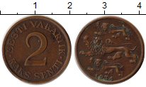 Изображение Монеты Европа Эстония 2 сенти 1934 Бронза XF