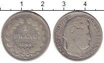 Изображение Монеты Франция 1 франк 1844 Серебро VF+