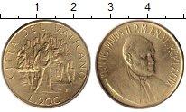 Изображение Монеты Ватикан 200 лир 1989 Латунь UNC