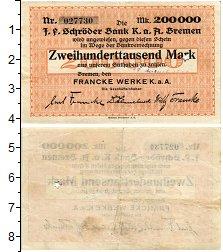 Изображение Банкноты Германия : Нотгельды 200000 марк 1923  XF