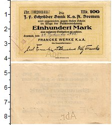 Изображение Банкноты Германия : Нотгельды 100 марок 1922  XF