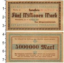 Изображение Банкноты Германия : Нотгельды 5000000 марок 1923  XF Пирмазенс