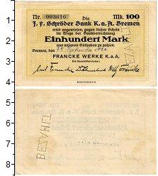 Изображение Банкноты Германия : Нотгельды 100 марок 1922  XF Бремен