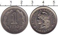 Изображение Монеты Аргентина 1 песо 1958 Медно-никель XF