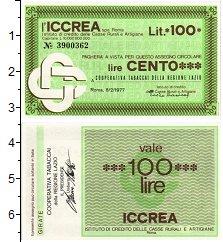 Изображение Банкноты Италия 100 лир 1977  UNC Банковский чек Лацио