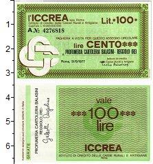 Изображение Банкноты Италия 100 лир 1977  UNC Банковский чек на 10