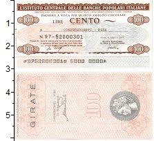 Изображение Банкноты Италия 100 лир 1977  UNC Банковский чек Пиза