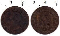 Изображение Монеты Франция 5 сантим 1855 Медь XF-