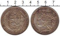 Изображение Монеты Южная Америка Перу 5 песет 1880 Серебро XF