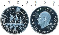 Изображение Монеты Норвегия 50 крон 1991 Серебро Proof- Олаф V