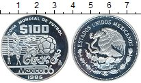 Изображение Монеты Мексика 100 песо 1985 Серебро Proof- Чемпионат Мира по фу