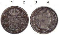 Изображение Монеты Европа Испания 20 сентим 1868 Серебро VF