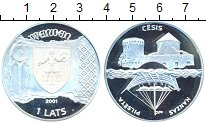 Изображение Монеты Европа Латвия 1 лат 2001 Серебро Proof