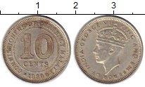 Изображение Монеты Малайя 10 центов 1939 Серебро XF Георг VI
