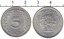 Изображение Монеты Африка Тунис 5 сантим 1983 Алюминий UNC