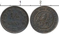 Изображение Монеты Европа Нидерланды 1/2 цента 1884 Бронза XF