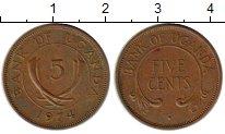 Изображение Монеты Уганда 5 центов 1974 Бронза XF