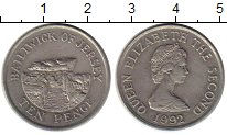 Изображение Монеты Остров Джерси 10 пенсов 1992 Медно-никель XF