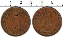 Изображение Монеты Маврикий 5 центов 1971 Бронза XF Елизавета II