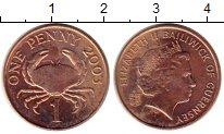 Изображение Монеты Гернси 1 пенни 2003 Бронза UNC- Краб