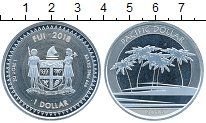 Изображение Монеты Фиджи 1 доллар 2018 Серебро UNC Флора. Пальмы