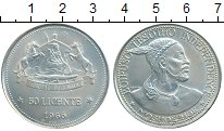 Изображение Монеты Африка Лесото 50 лисенте 1966 Серебро UNC-