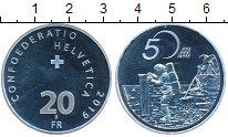 Изображение Мелочь Швейцария 20 франков 2019 Серебро UNC 50  лет  первого  че