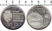 Изображение Монеты Андорра 10 динерс 1992 Серебро UNC 500 лет открытия Аме