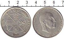 Изображение Монеты Испания 100 песет 1966 Серебро XF-