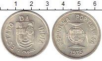 Изображение Монеты Португальская Индия 1 рупия 1935 Серебро VF