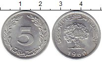 Изображение Монеты Тунис 5 сантим 1960 Алюминий UNC-