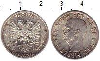 Изображение Монеты Албания 5 лек 1939 Серебро UNC- Виктор  Эммануил III