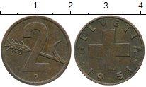 Изображение Дешевые монеты Швейцария 2 раппа 1951 Медь XF-