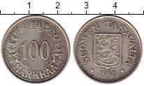 Изображение Монеты Финляндия 100 марок 1958 Серебро XF