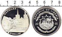 Изображение Монеты Либерия 20 долларов 2001 Серебро Proof- Дания