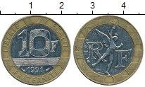 Изображение Дешевые монеты Франция 10 франков 1991 Биметалл