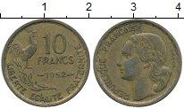 Изображение Дешевые монеты Франция 10 франков 1952 Латунь XF-