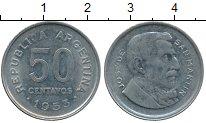 Изображение Дешевые монеты Аргентина 50 сентаво 1953 Сталь покрытая никелем XF