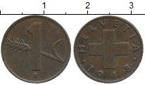 Изображение Дешевые монеты Швейцария 1 рапп 1948 Медь VF+