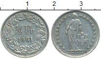 Изображение Монеты Швейцария 1/2 франка 1961 Серебро XF