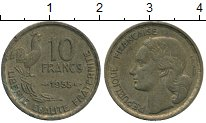 Изображение Дешевые монеты Франция 10 франков 1955 Латунь VF