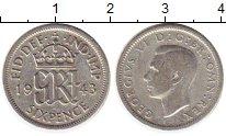 Изображение Монеты Великобритания 6 пенсов 1943 Серебро VF Георг VI