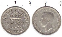 Изображение Монеты Великобритания 6 пенсов 1937 Серебро VF Георг VI