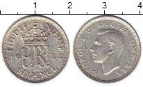 Изображение Монеты Великобритания 6 пенсов 1944 Серебро VF
