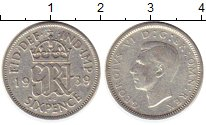 Изображение Монеты Великобритания 6 пенсов 1939 Серебро VF Георг VI