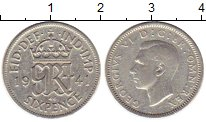 Изображение Монеты Великобритания 6 пенсов 1941 Серебро VF Георг VI
