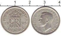 Изображение Монеты Великобритания 6 пенсов 1945 Серебро VF Георг VI