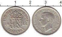 Изображение Монеты Великобритания 6 пенсов 1944 Серебро VF Георг VI